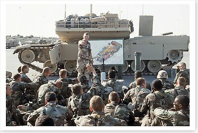 8th Cavalry Division Troops Being Briefed During Desert Shield 8x12 Photo