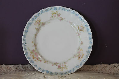 """Wm Guerin Limoges France 6-1/8"""" Bread / Butter Plate - Blue And Pink Flowers"""