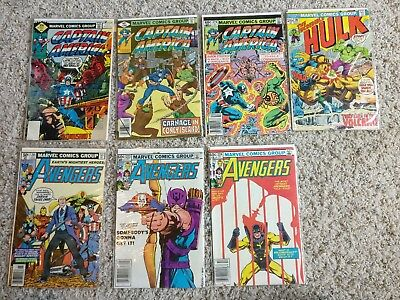 Lot of 7 Marvel Comics Captain America, Incredible Hulk, and The Avengers