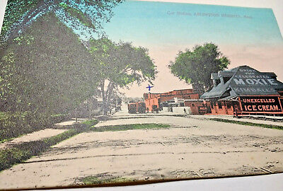 MOXIE Ad. Side of Trolley Car Station /Arlington Heights, Mass.1908 Post Card