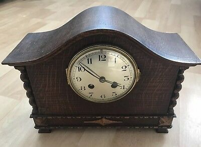 Vintage Wooden Cased Mantle Clock For Spares/Repair