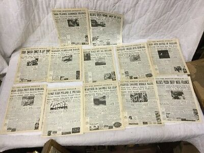 12 Vintage The Boston Herald Newspaper Special WW2 Military Miniature Editions