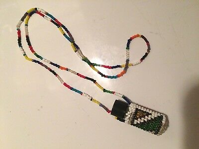 Vintage Seedbeaded Necklace - Bottle Holder, Choctaw Native American Initial H
