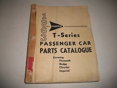 1963 Dodge Chrysler Plymouth Imperial T-Series Original Parts List Catalog