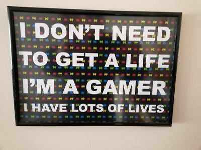 Gamer, Gaming, Xbox Playstation Inspirational /framed Poster /a4 Print