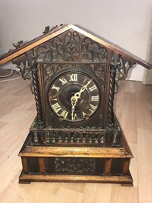 Large Antique Fusee Mantle Cuckoo Clock For Restoration