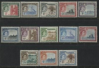 Gambia QEII 1953 1/2d to 5/ inclusive mint o.g.