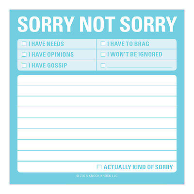 Keep It Simple Sticky Notes By Knock Knock -Sorry Not Sorry