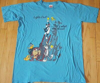 Vintage 1995 LOONEY TUNES shirt XXL blue Bugs Bunny Daffy Taz Tweety cartoon 90s