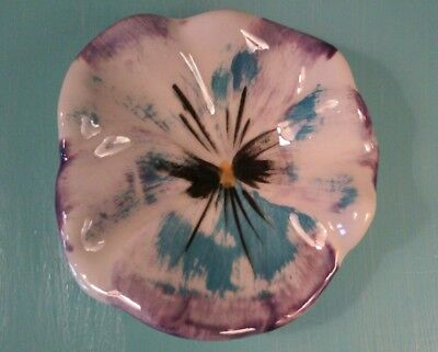 Vintage Beautiful Stangl Art Pottery Pansy Flower Tea Bag Holder Dish Plate
