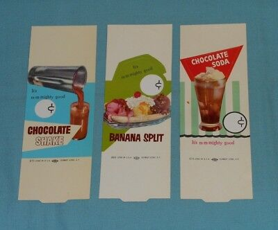vintage ICE CREAM SODA FOUNTAIN TABLE TENT lot x3 store display sign