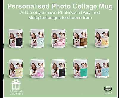 Personalised Mug 5 Photo Collage Add Any Text Custom Design Gift Tea Coffee Cup