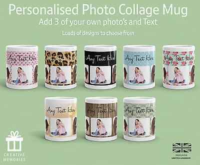 Personalised Mug 3 Photo Collage Add Any Text Custom Design Gift Tea Coffee Cup
