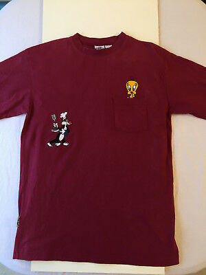 Vintage 1990s Looney Tunes Burgundy T-Shirt- Tweety Bird & Sylvester Size Large