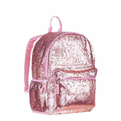 "Rose Gold 2-Way Sequins 16"" Backpack School Book Bag Tote Full Size"