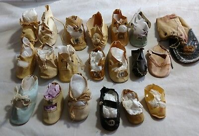 Vintage Antique lot of Single Oilcloth Doll Shoes for Parts or Matching