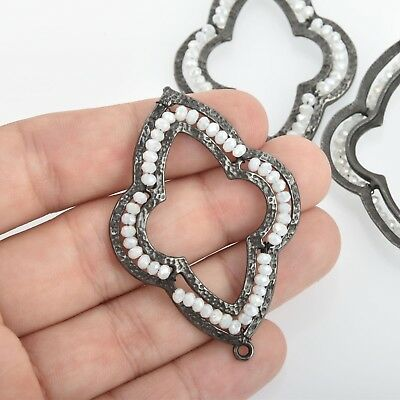 "2 Gunmetal QUATREFOIL Beaded Charms WHITE Crystal, Connector, 2.25"" chs4662"