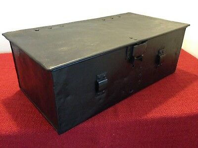 Vintage Black 1918 tractor tool box,Metal deed box,Document Box,Storage,Display.