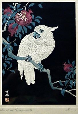 1930s Japanese Ohara Koson Shoson Framed Woodblock Print Cockatoo On Pomegranate