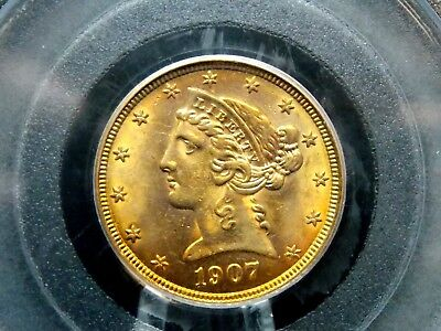 1907 $5 Gold Liberty Head Half Eagle PCGS MS62 East Coast Coin & Collectables