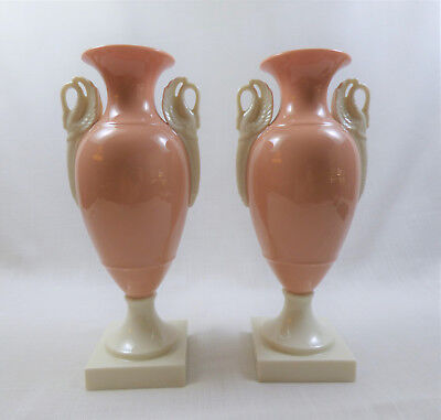 Rare Vintage Lenox Coral Vase Old Blue Mark with Ivory Swan Handles