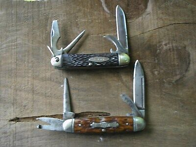 Lot Of Two Vintage Scout Knives Cruicable Knife And Case No Dot 1965 To 69