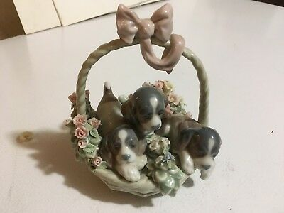 Lladro Litter of Love #1441 Puppy Dogs in a Flower Basket