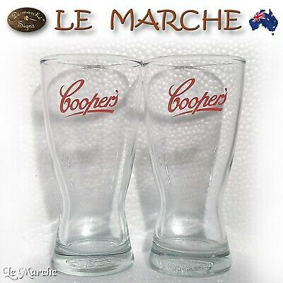 COLLECTORS Coopers BEER GLASSES 285ml Single or Set AS NEW (FREE POST)
