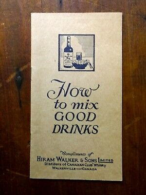 "c. 1930s Hiram Walker ""How to Mix Good Drinks"" Cocktail Recipe Guide"