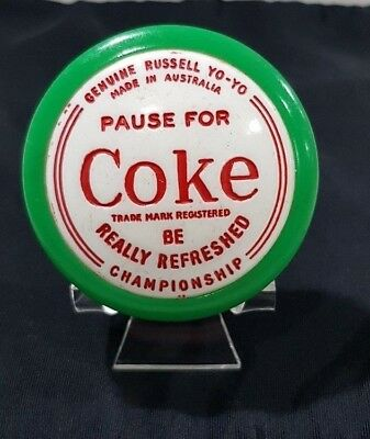 Genuine Russell 1961 Pause For Coke Coca Cola Yoyo Green Rim With Plastic Stand