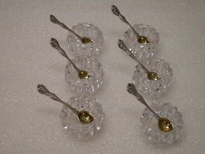 Alencon Lace 6 Sterling Silver Salt Spoons W / Cut Crystal Cellars Set by Gorham
