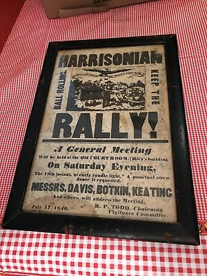 Antique Harrisonian Rally Dated 1840s Used Some Age Damage Nice