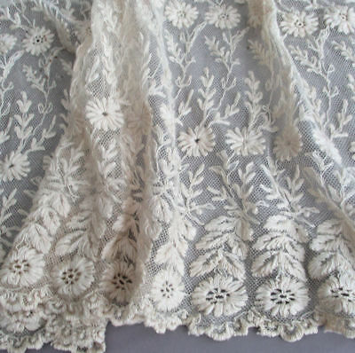 """Antique Ecru French LACE Flounce HEAVILY Embroidered FLOWERS Tendrils 24"""" X 31"""""""