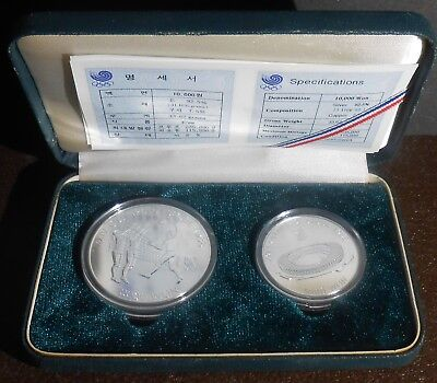 1988 Seoul Olympic 10000 & 5000 Won .925 Silver Coin Set Volleyball