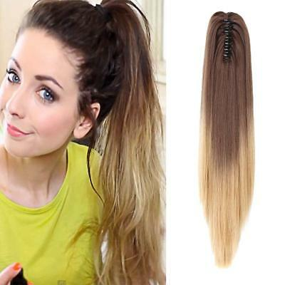 """Neverland Beauty 20""""50cm Ombre Two Tone Long Straight Clip in/on Wavy Ponytail"""
