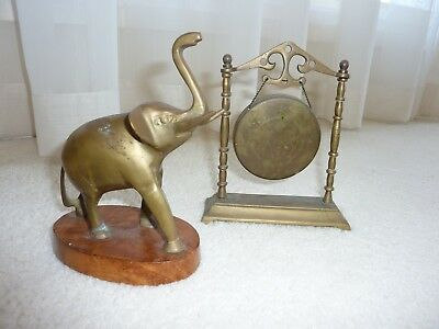 Vintage Brass Elephant on Wooden Stand & Vintage Brass Gong on Stand