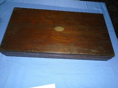 Vintage  Collectable Large Oak  Wood Canteen Cutlery Box Desk Top Storage 1932