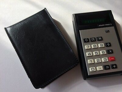 Striking Vintage Silver Reed Calculator Ref No 95. Green Display. Plus Case.