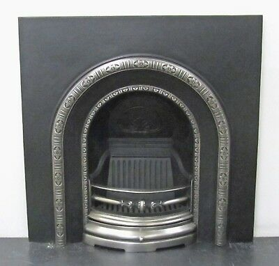 Victorian Style Cast Iron Hi-Lite Polished Arch Insert Fireplace