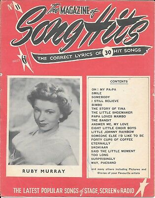 Vintage Song hits lyric paper No 11 mid 1950's Ruby Murray