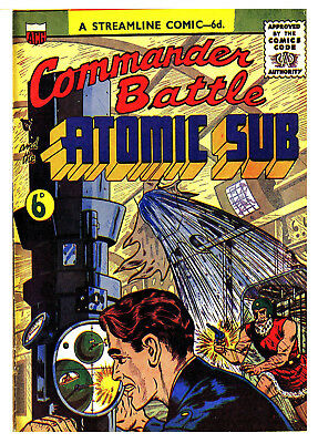 COMMANDER BATTLE AND THE ATOMIC SUB No Number - BRITISH 6d .  -  Facsimile Comic
