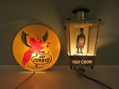 Vintage Old Crow-Corby's Lighted Bourbon Whiskey Sign Lot