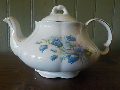 Very Pretty Vintage Wood & Sons England Blue Floral White Ironstone Teapot