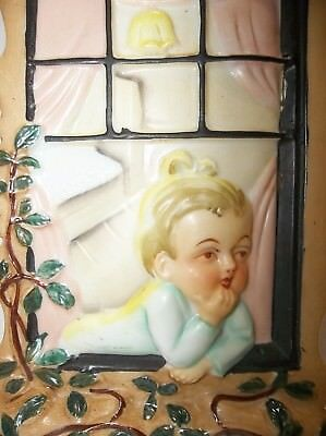 Vintage Japanese Porcelain Wall Pocket Vase GIRL IN WINDOW