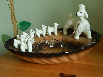 Vintage 50s White Poodle Ashtray Mother & Pups on Chain