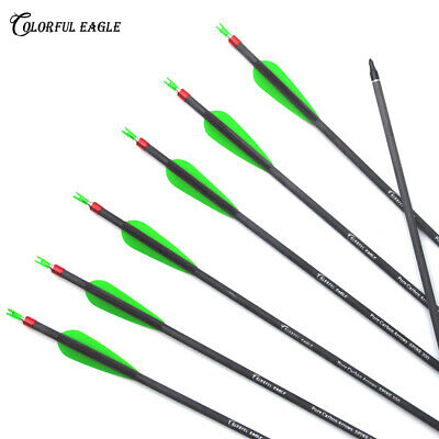 """12X30/"""" Archery Carbon Arrows Green Fletching Spine 700 For Recurve Bow Hunting"""