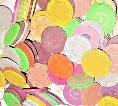 CASINO CLAY CHIP LOT 100 Mixed Colors ROULETTE GAME CHIPS 1970's-1990 Vtg
