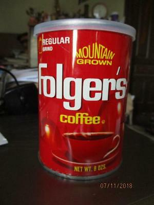 Vintage 8 Oz Folgers Coffee Tin Can With Lid For Display Vg Condition