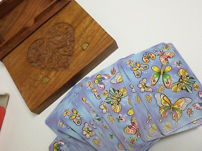 Art Nouveau design wooden card case with Classic Bonus 555  boxed playing cards