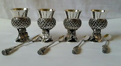 Scottish Thistle Egg Cups And Spoons X 4 ~ Silver Plate